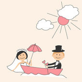 Wedding invitation with funny bride and groom in boat — Stock Vector