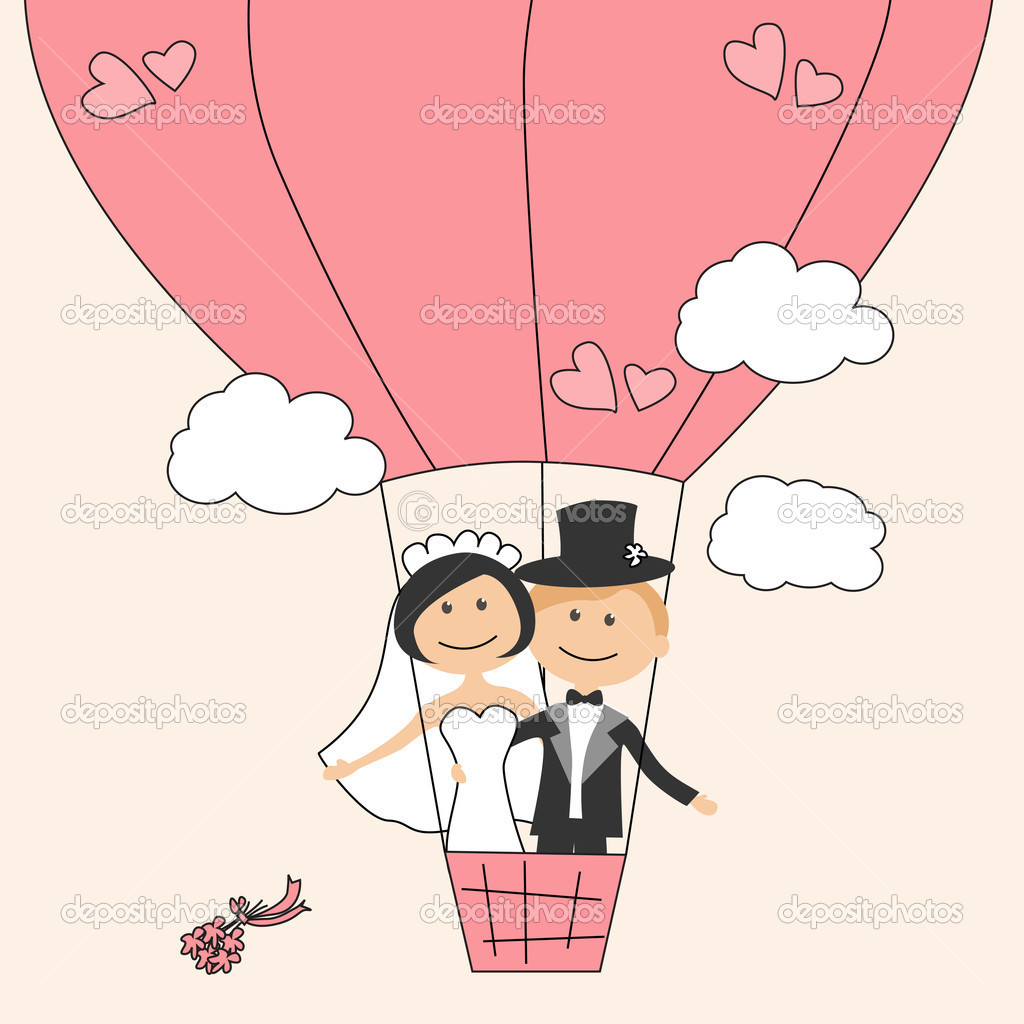 Wedding invitation with funny bride and groom on air balloon — Stock Vector #5848142