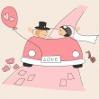 Wedding invitation with funny bride and groom — Stock Vector