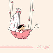 Baby girl arrival announcement retro card — Stock Vector