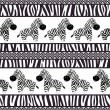 African seamless patterns with cute zebra and zebra skin. — Stock Vector