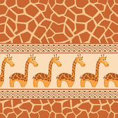 Seamless patterns with cute giraffe and giraffe skin. — Stock Vector