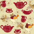 Seamless pattern with tea and dessert - Stock Vector