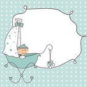 Baby jongen aankomst aankondiging retro kaart — Stockvector