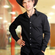 Man in stetson hat — Stock Photo