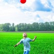 Boy play with ball — Stock Photo