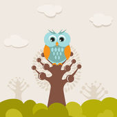 Cute owl on the tree — Stock Photo