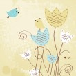 Vintage background with birds and flowers — Stock Photo