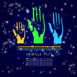 Colorful hands voting. With place for your text - Zdjęcie stockowe