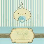 Vintage baby boy arrivo annuncio carta — Foto Stock