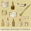 Vector set of vintage kitchen utensils - Zdjęcie stockowe