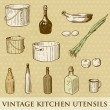 Vector set of vintage kitchen utensils - Stock fotografie