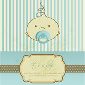 Vintage baby boy arrival announcement card. — Stock Photo