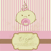 Vintage baby girl arrival announcement card. — Stock Photo