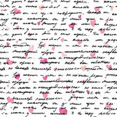 Love note/ Seamless text pattern with hearts — Stock Photo