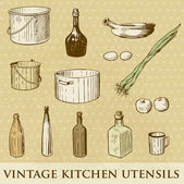 Vector set of vintage kitchen utensils — Stock Photo