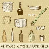 Vektor uppsättning vintage husgeråd — Stockfoto
