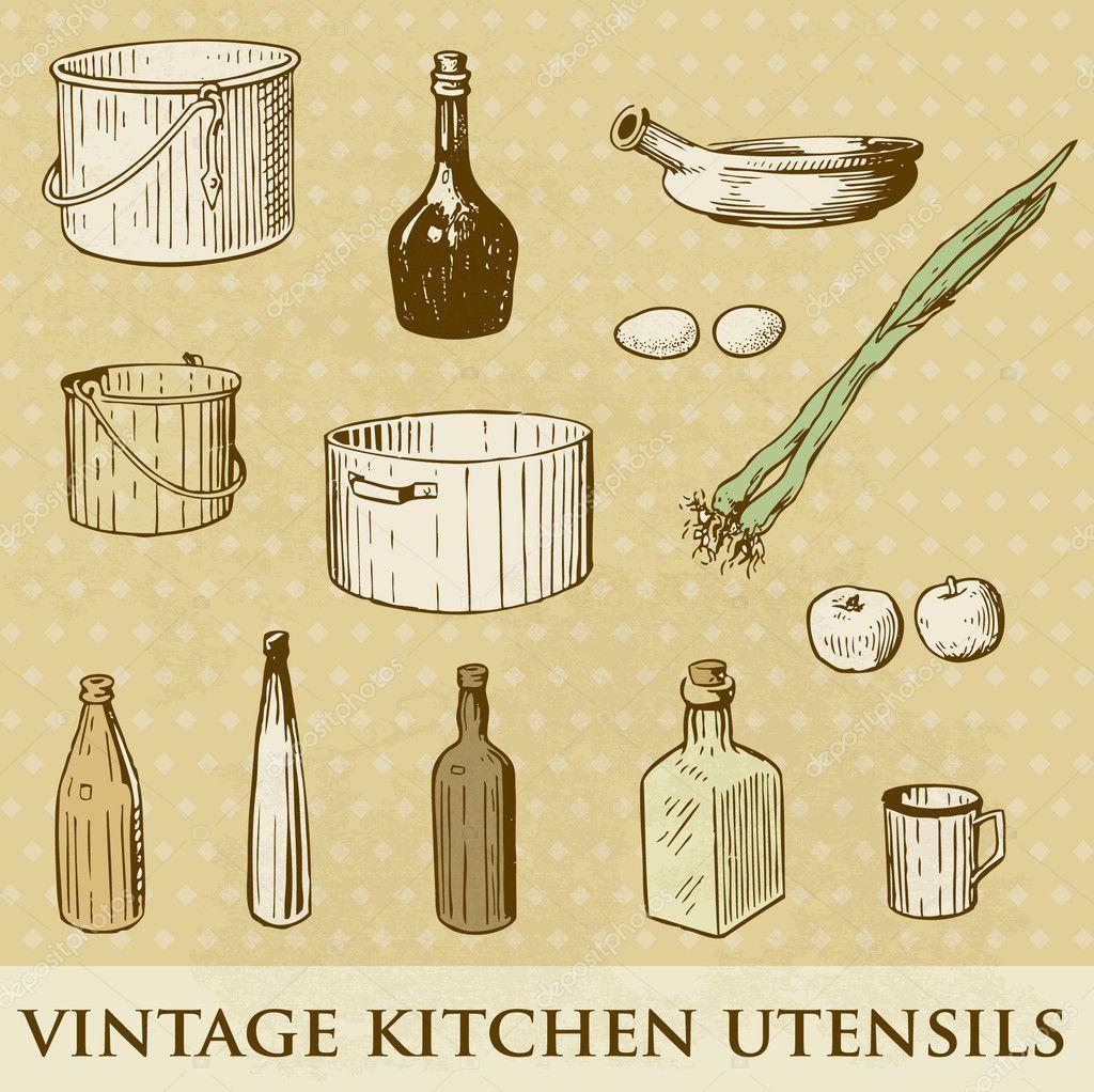Vector conjunto de utensilios de cocina vintage foto de for Utensilios de cocina vintage