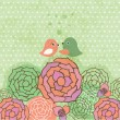 Vintage background with birds and flowers - Stock Photo