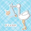 Baby arrival card with stork that brings a cute boy — Stock Photo