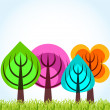 Four season trees concept - Stock Photo