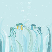 几个鱼中的爱。可爱矢量卡 — 图库照片