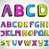 Grunge hand drawn alphabet. Vector. — Stock Photo