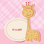 Baby girl shower card with cute giraffe — Stock Photo