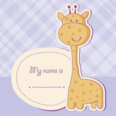 Baby boy shower card with cute giraffe — Stock Photo