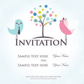Wedding invitation with two cute birds in bride and groom costumes — Stock Photo