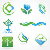 Set of vector ecological symbols — Stock Photo