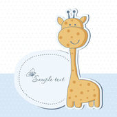 Baby boy shower card with cute giraffe — ストック写真