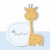 Baby boy shower card with cute giraffe — Stock Photo