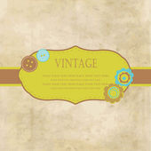 Vintage frame with buttons and flowers for your design — Stock Photo