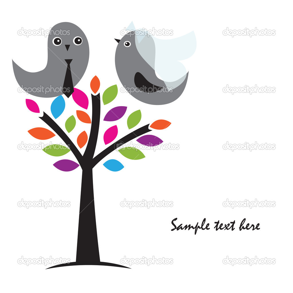 Wedding invitation with two cute birds in bride and groom costumes  — Stock Photo #6438905
