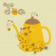 Cute vintage card with teapot and floral branch — Stock Photo