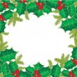 Christmas frame with holly berry leaves - Stock Photo