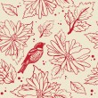 Bird sitting on the flower branch, hand drawn vector illustration — Stock Photo
