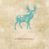 Vintage christmas card with reindeer and snowflakes — Stock Photo