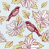 Vogel sitzt auf der Blume Branch, handgezeichnete Vektor-illustration — Stockfoto