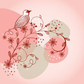 Bird sitting on the flower branch, hand drawn vector illustration — Stock Photo