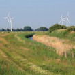 Summer landscape with wind turbines - Stock Photo
