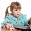 The little girl at the computer — Stock Photo #5393010