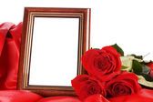 Red rose with a framework for a photo — Stock Photo