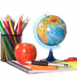 The globe with pencils isolated — Stock Photo