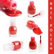 Red nail polish isolated on a white background - Stock Photo