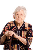 Retrato da mulher velha isolado no branco — Fotografia Stock