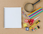 Various school accessories on — Stock Photo