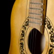 The acoustic guitar  on a black - Stock Photo