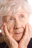 Portrait of the old woman closeup — Stock Photo